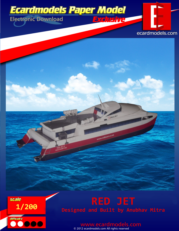 Red Jet Boat Paper Model